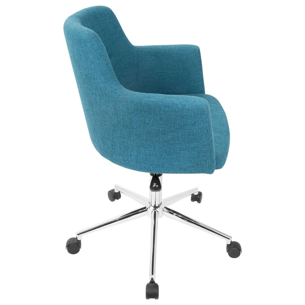 Lumisource Andrew Adjustable Office Chair in Teal/Chrome, , large