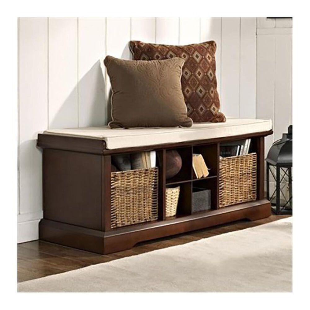 Crosley Furniture Brennan Entryway Storage Bench in Mahogany, , large