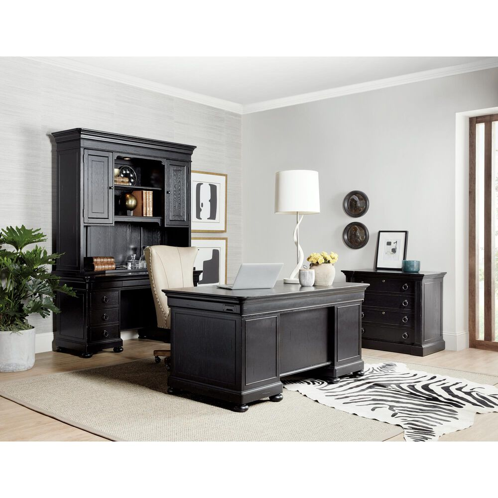 Hooker Furniture Bristowe Computer Credenza in Black and Warm Brown, , large
