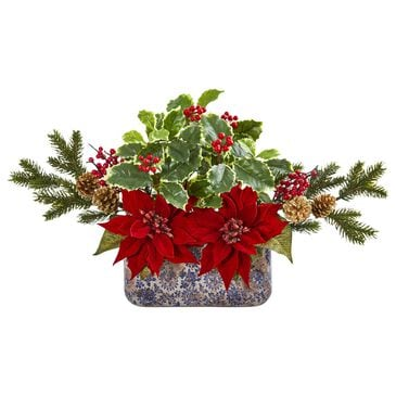 Nearly Natural Inc Poinsettia, Berry and Holly Artificial Arrangement in Vase, , large