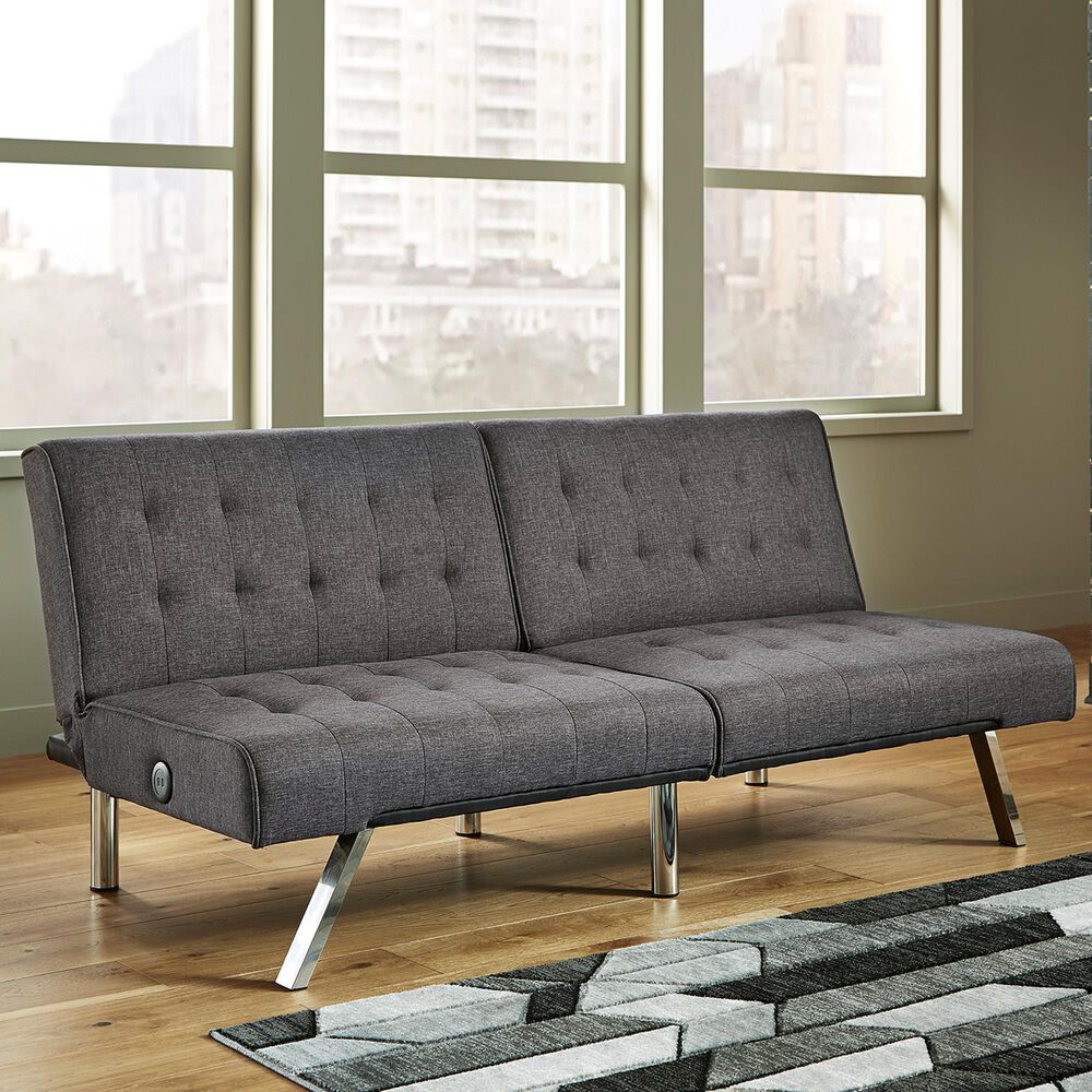 Signature Design by Ashley Sivley Stationary Flip Flop Armless Sofa in Charcoal, , large