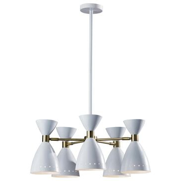 Adesso Oscar 5-Head Pendant in White and Antique Brass, , large