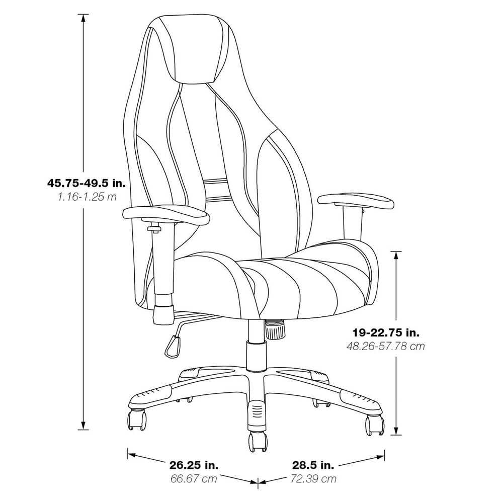 OSP Home Commander Gaming Chair in Black and Grey, , large