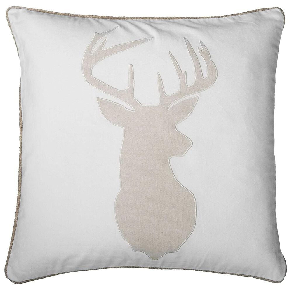"""Rizzy Home 18"""" x 18"""" Pillow Cover in White with Deer Head, , large"""