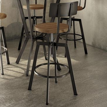 Amisco Screw Stool with the seat in Toasty and back in Harley, , large