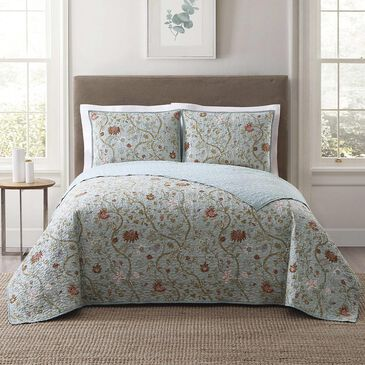 Pem America Style 212 3-Piece Full/Queen Bedford Quilt Set in Blue  and  Blush, , large