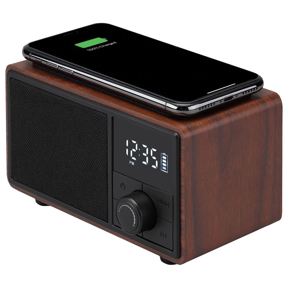iLive Bluetooth Clock Radio with Wireless Charging in Black, , large