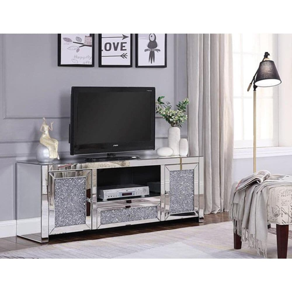 """Gunnison Co. Noralie 59"""" TV Stand with Mirrored and Faux Diamond, , large"""