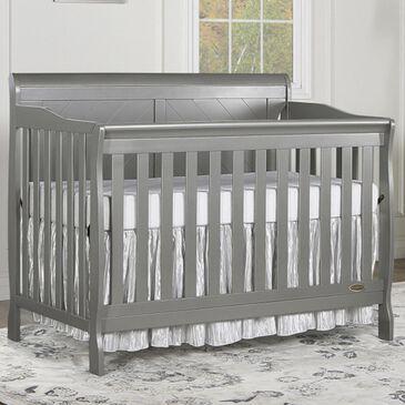 Evolur Ashton Convertible Solid Back Panel Sleigh Crib in Storm Grey, , large