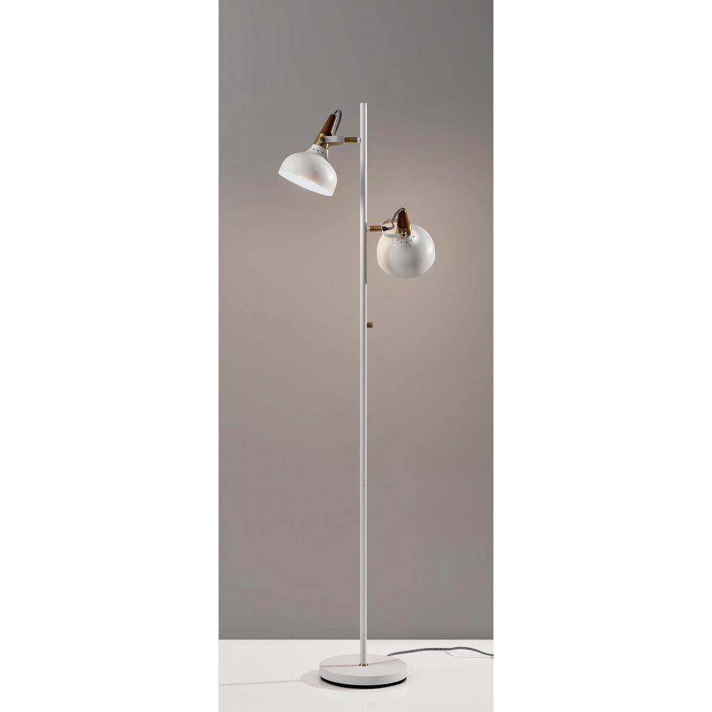 Adesso Brunswick Floor Lamp in White/Antique Brass/Walnut, , large