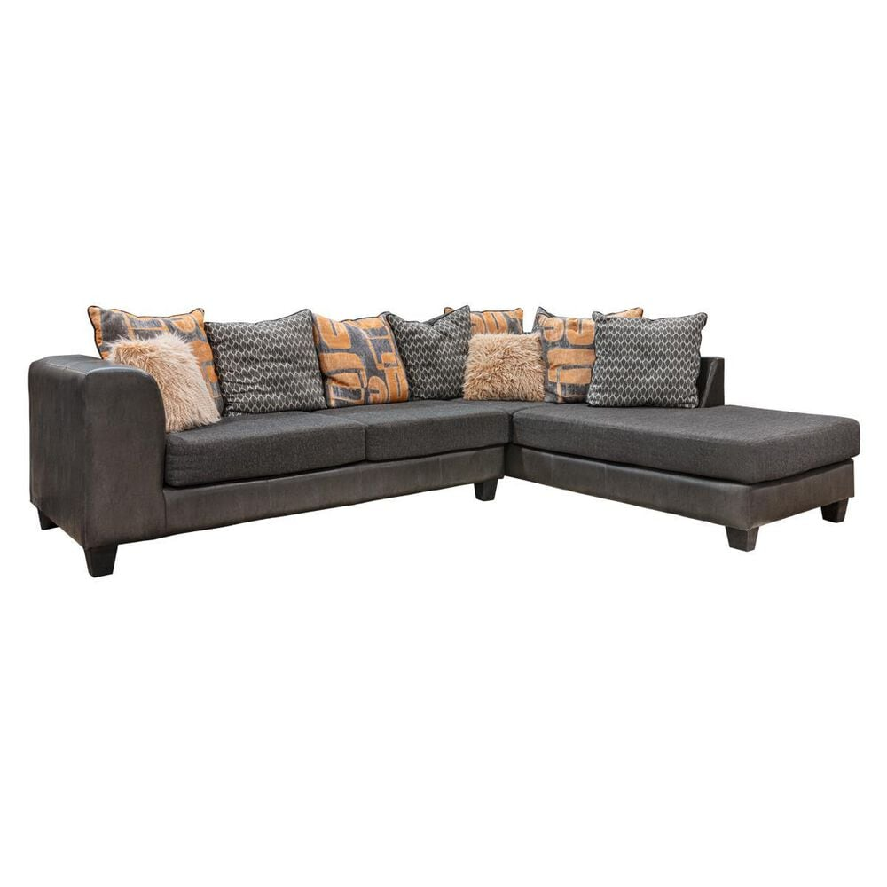 Carolina Furniture Austin 2-Piece Right Facing Sectional with Chaise in San Marino Charcoal, , large