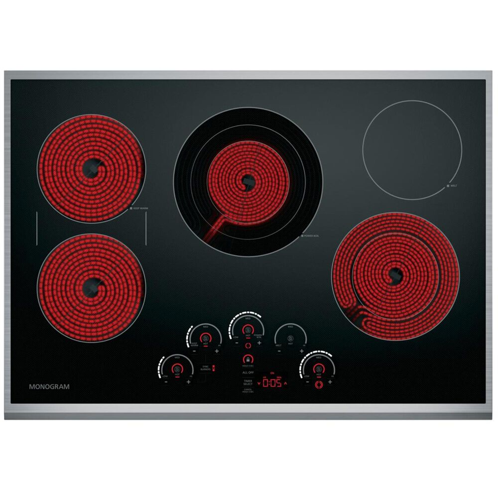 """Monogram  30"""" Touch Control Electric Cooktop in Black, , large"""