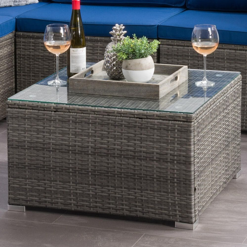 CorLiving Parksville Patio Coffee Table in Blended Grey, , large