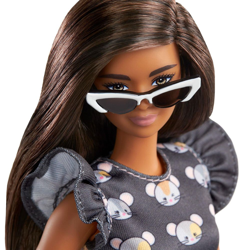 Barbie Fashionista Long Brunette Hair and Mouse-Print Dress, , large