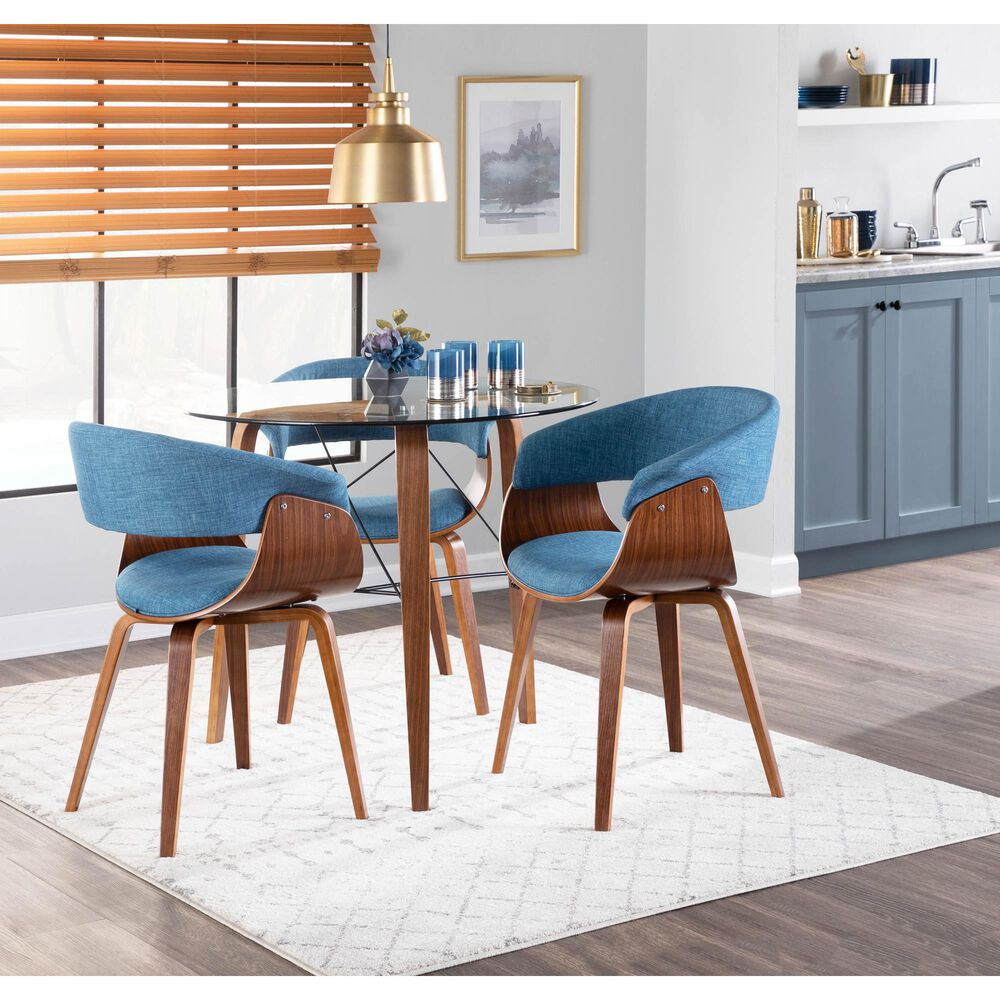 Lumisource Vintage Mod Dining Chair in Blue/Walnut, , large