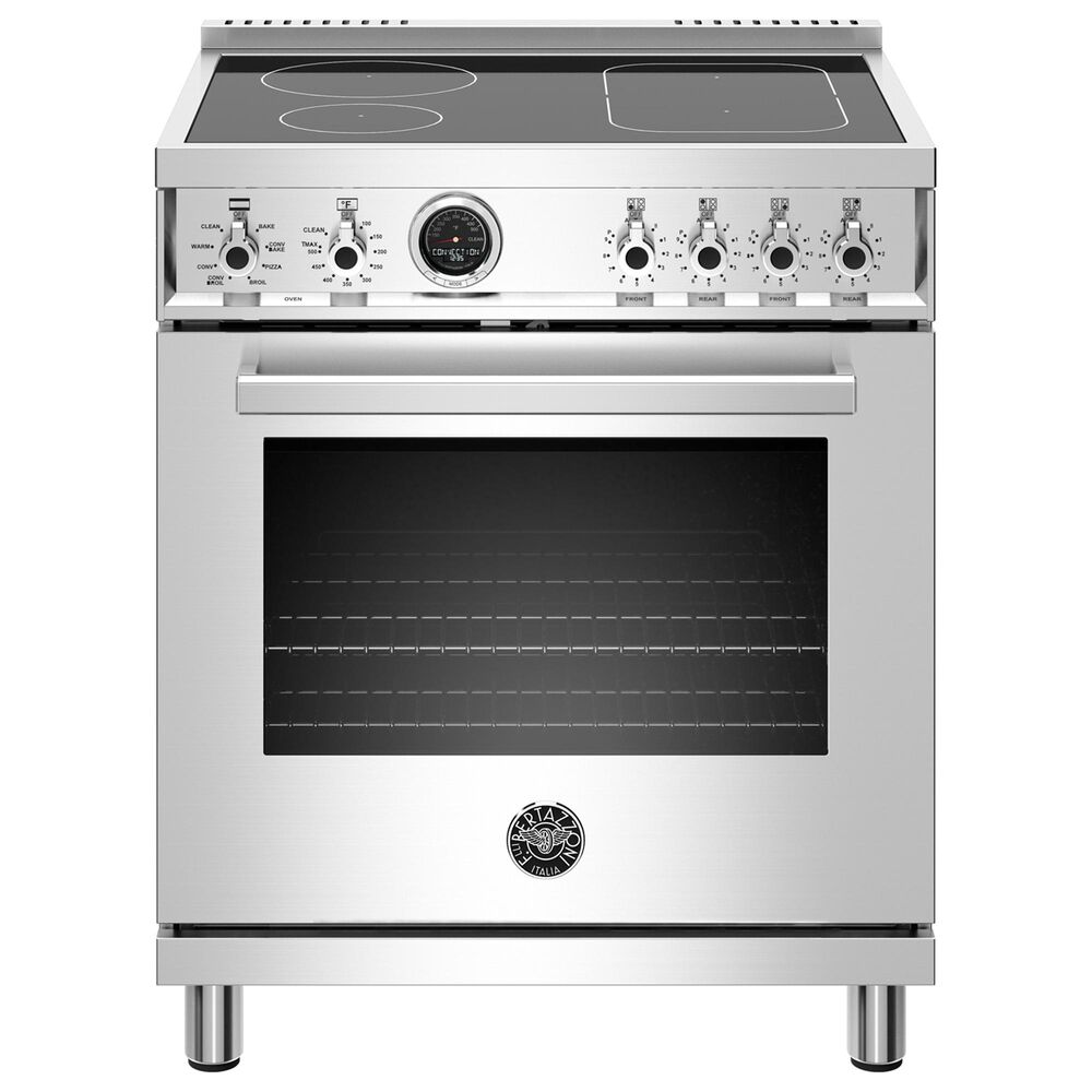 """Bertazzoni 30"""" Professional  Induction Self-Clean Range in Stainless Steel, , large"""