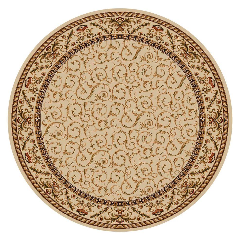 Radici USA Bergamo 1599 8' Round Ivory Area Rug, , large