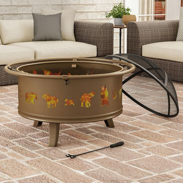"""Timberlake Pure Garden 32"""" Large Round Firepit in Antique Gold, , large"""