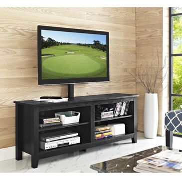 """Walker Edison 58"""" Wood TV Console with Mount - Black, , large"""