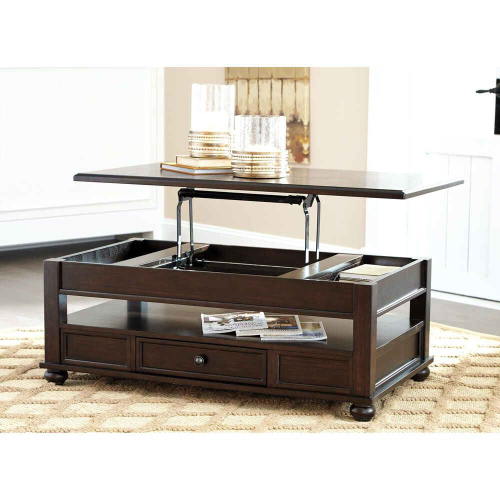 Signature Design by Ashley Barilanni Lift Top Cocktail Table in Dark Brown, , large