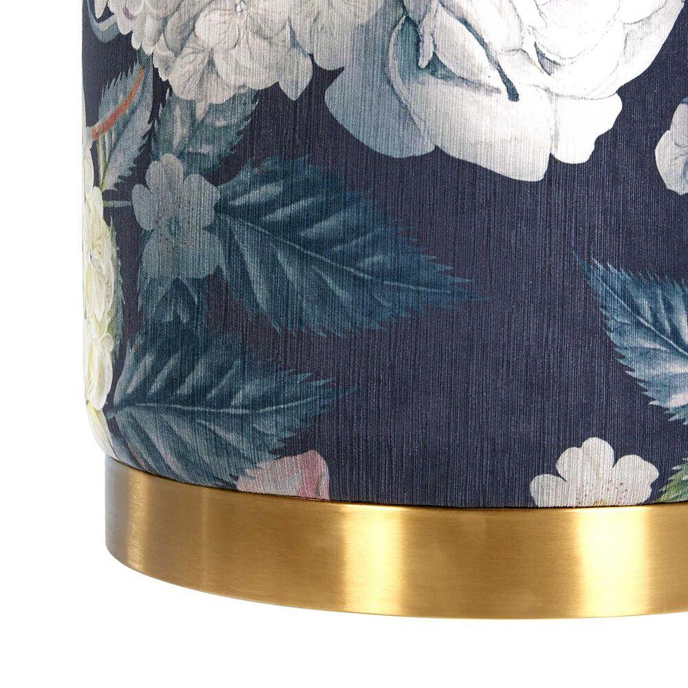 Tov Furniture Opal Floral Velvet Ottoman with Gold Base, , large