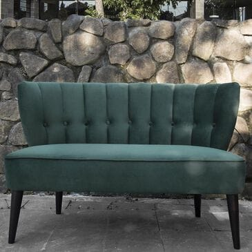 Jennifer Taylor Home Becca Channel and Button Tufted Settee in Hunter Green, , large