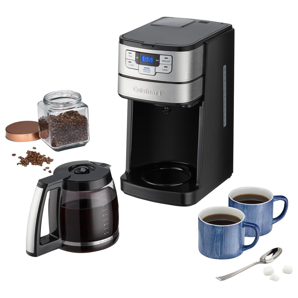 Cuisinart 12-Cup Automatic Grind and Brew Coffee Maker in Black and Stainless Steel, , large