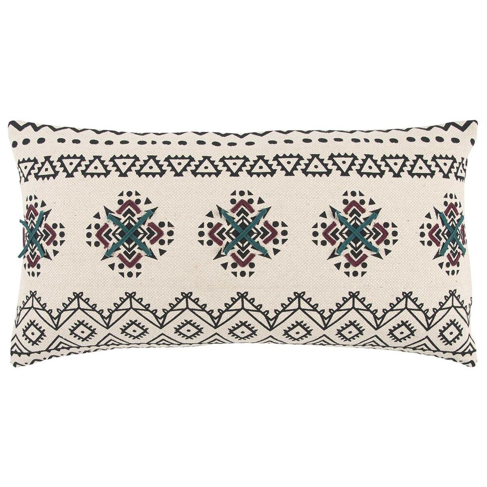 """Rizzy Home 14"""" x 26"""" Down Pillow in Black, , large"""