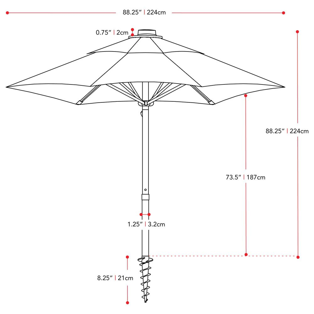 CorLiving 7.5' UV & Wind Resistant Umbrella in Turquoise Blue, , large
