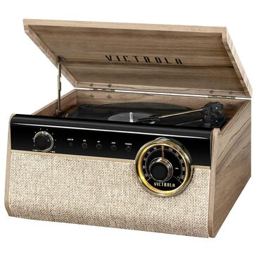 Victrola 4-in-1 Austin Bluetooth Record Player with 3-Speed Turntable and FM Radio, Farmhouse Walnut in Farmhouse Walnut, , large