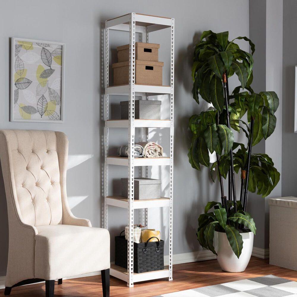 Baxton Studio Gavin 5-Shelf Closet Storage Rack Organizer in White, , large