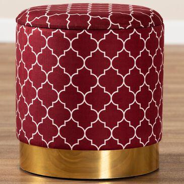 Baxton Studio Serra Storage Ottoman in Red/Gold, , large
