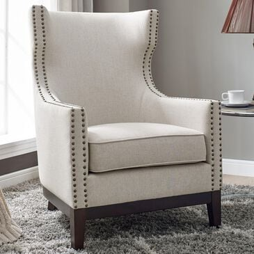 Crystal City Roswell Wing Back Chair in Beige, , large