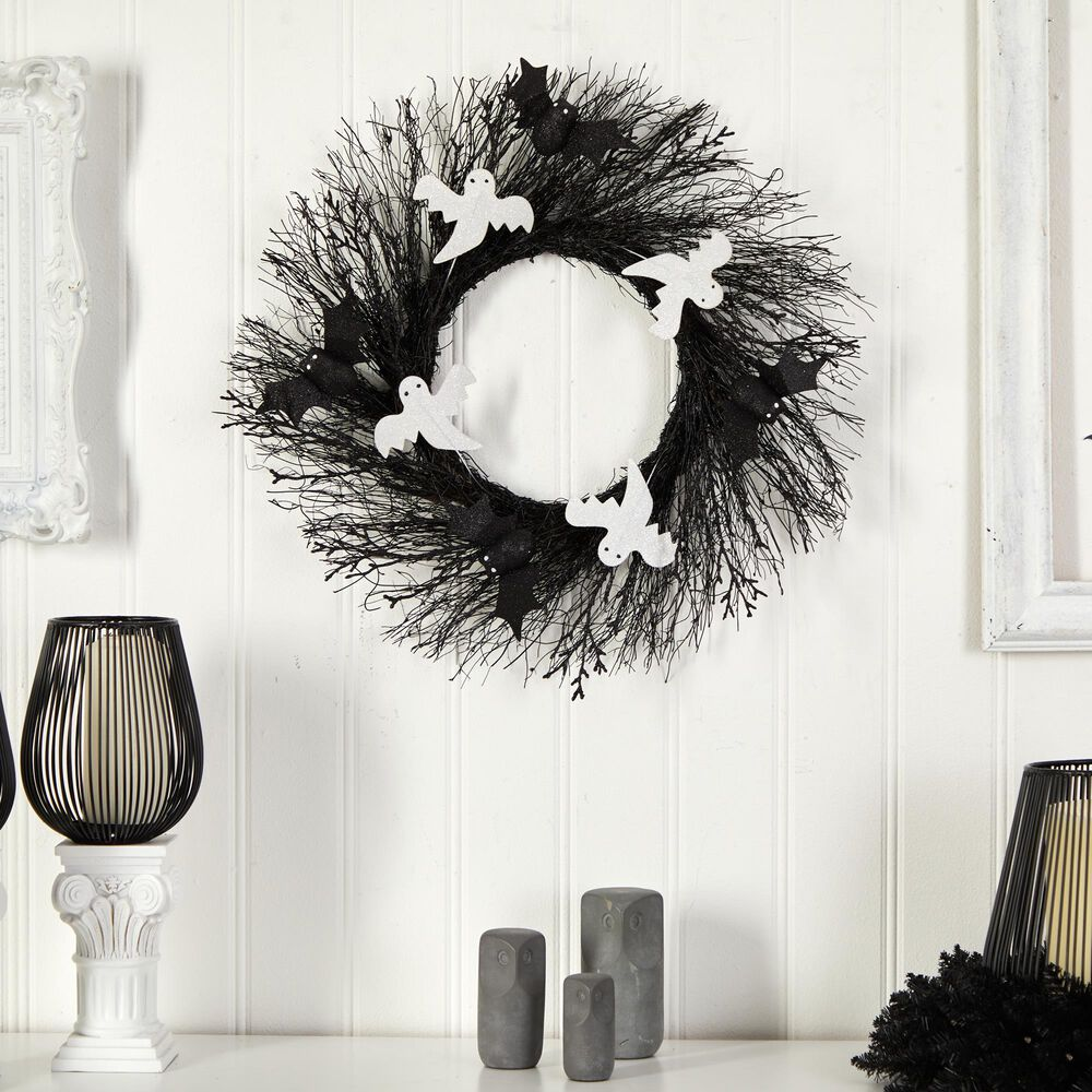Nearly Natural Inc 22in. Halloween Ghost and Bats Twig Wreath, , large