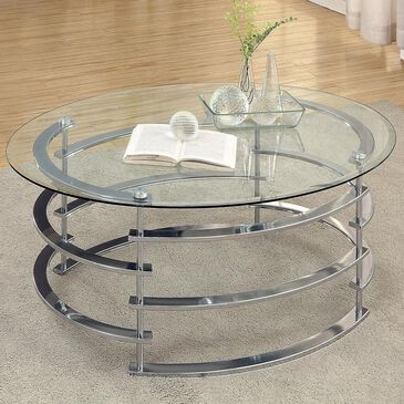 Furniture of America Luxie Tempered Glass Coffee Table in Chrome, , large