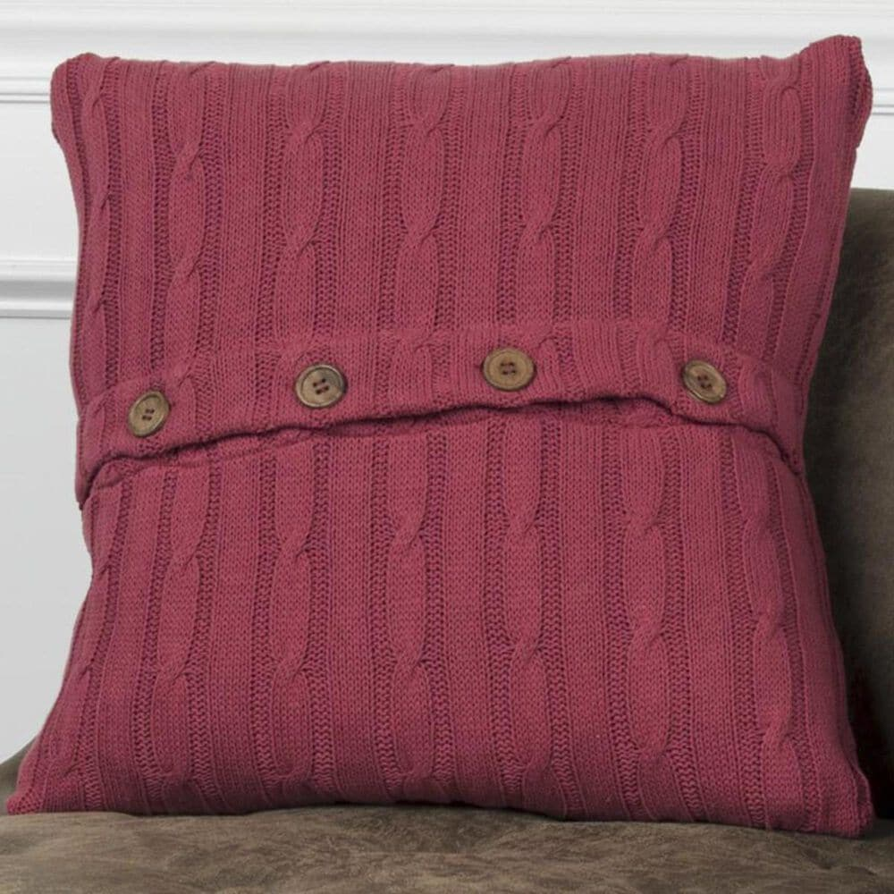 """Rizzy Home 18"""" x 18"""" Pillow Cover in Red with Buttons, , large"""
