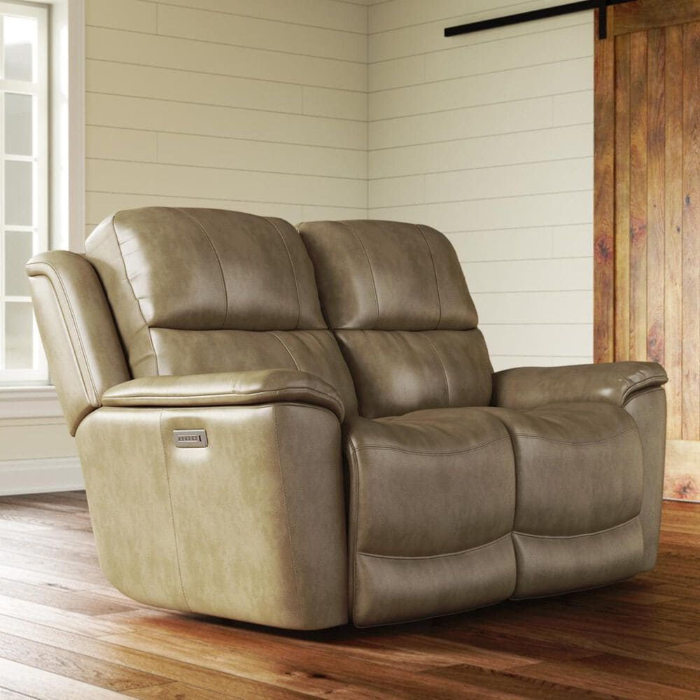 Flexsteel Cade Leather Power Reclining Loveseat with Headrest in Sand, , large