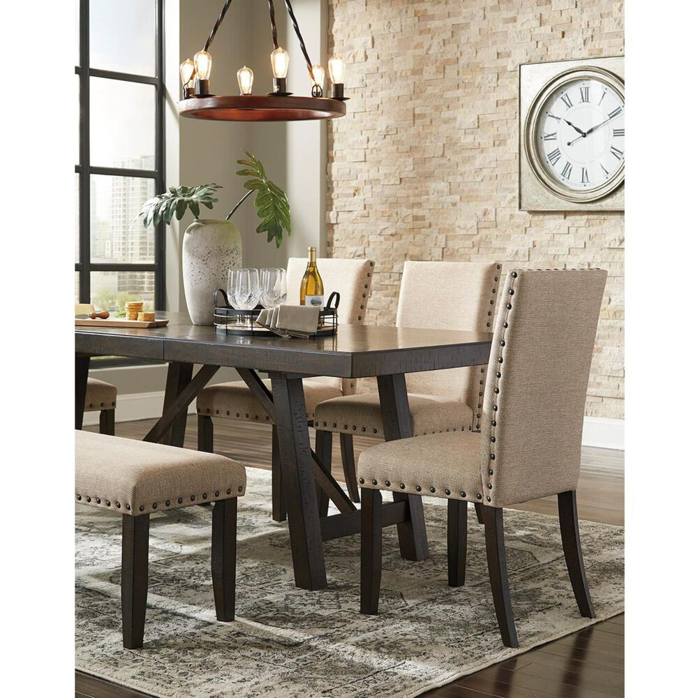 Signature Design by Ashley Rokane Rectangular Dining Extension Table in Light Brown - Table Only, , large