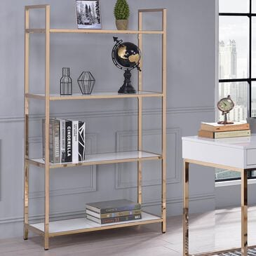 Gunnison Co. Ottey Bookcase in White High Gloss and Gold, , large