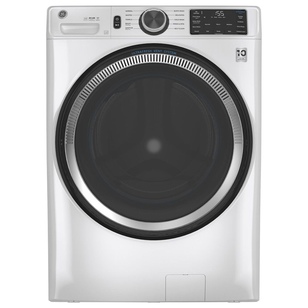 GE Appliances 4.8 Cu. Ft. Front Load Washer and 7.8 Cu. Ft. Electric Dryer Laundry Pair in White, , large