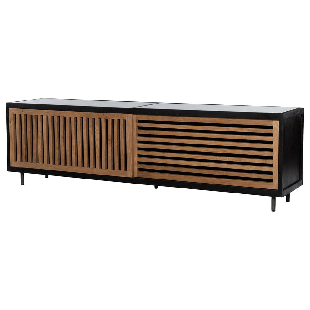 Four Hands Haverton Media Console in Black, Natural Oak and White, , large