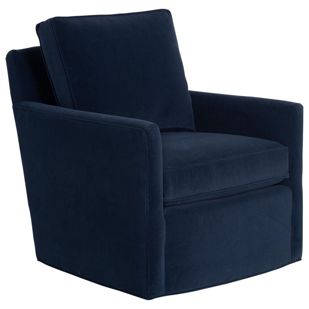 Century Willis Swivel Chair in Navy Velvet, , large