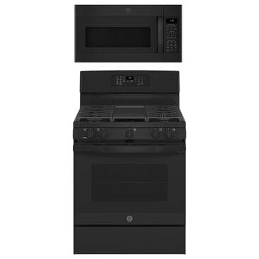 """GE Appliances 2-Piece Kitchen Package with 30"""""""" Gas Range and 1.9 Cu. Ft. Microwave Oven in Black, , large"""
