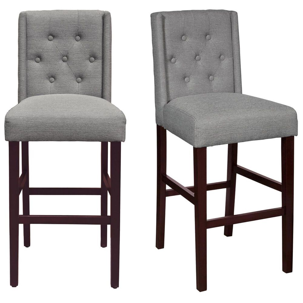 Accentric Approach Accentric Accents Wing Back Barstool in Grey (Set of 2), , large