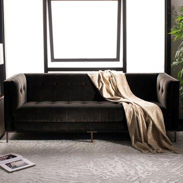 Safavieh Sienne Sofa in Shale Velvet and Antique Brass, , large