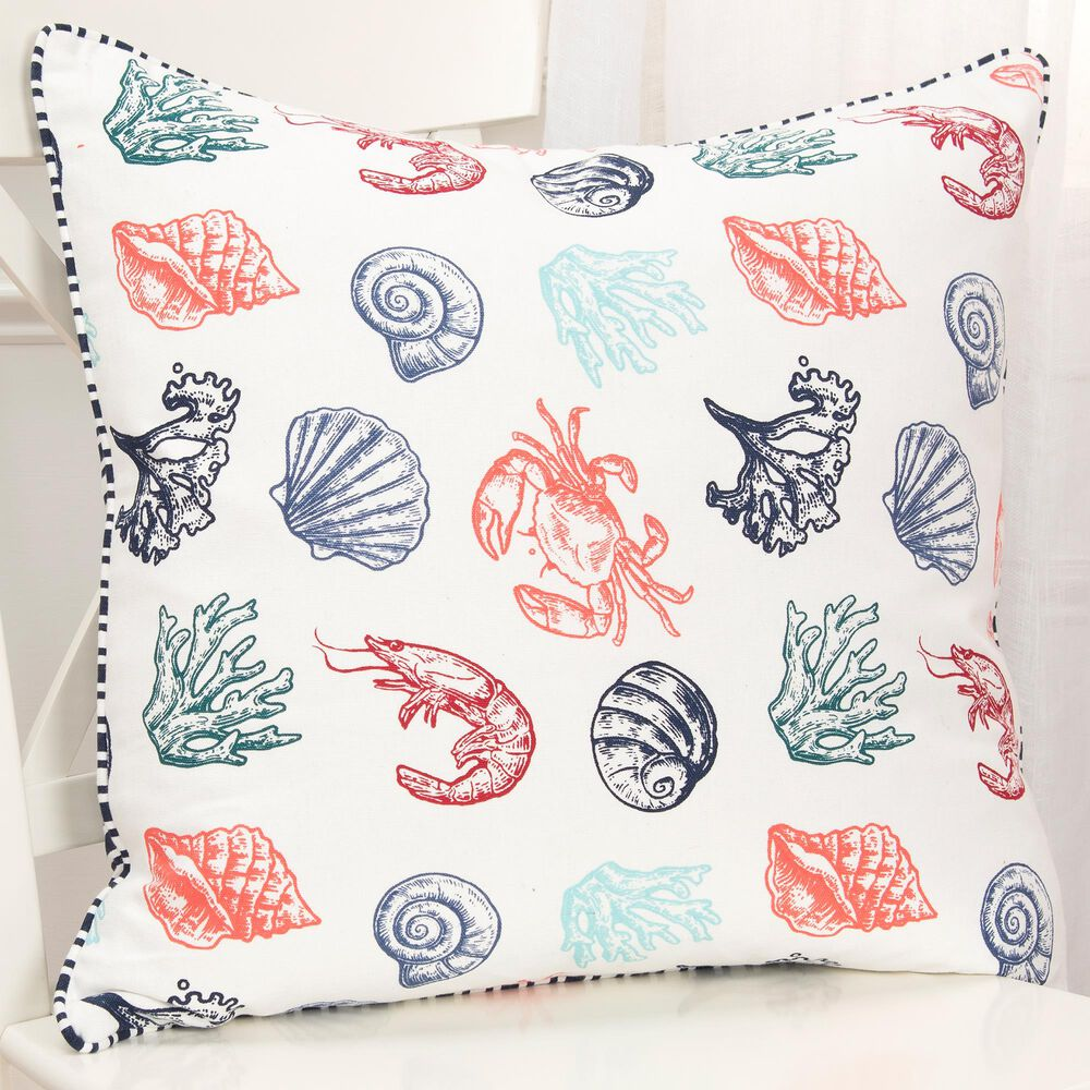 """Rizzy Home Animal 20"""" Pillow Cover in Teal /Coral/ Navy, , large"""