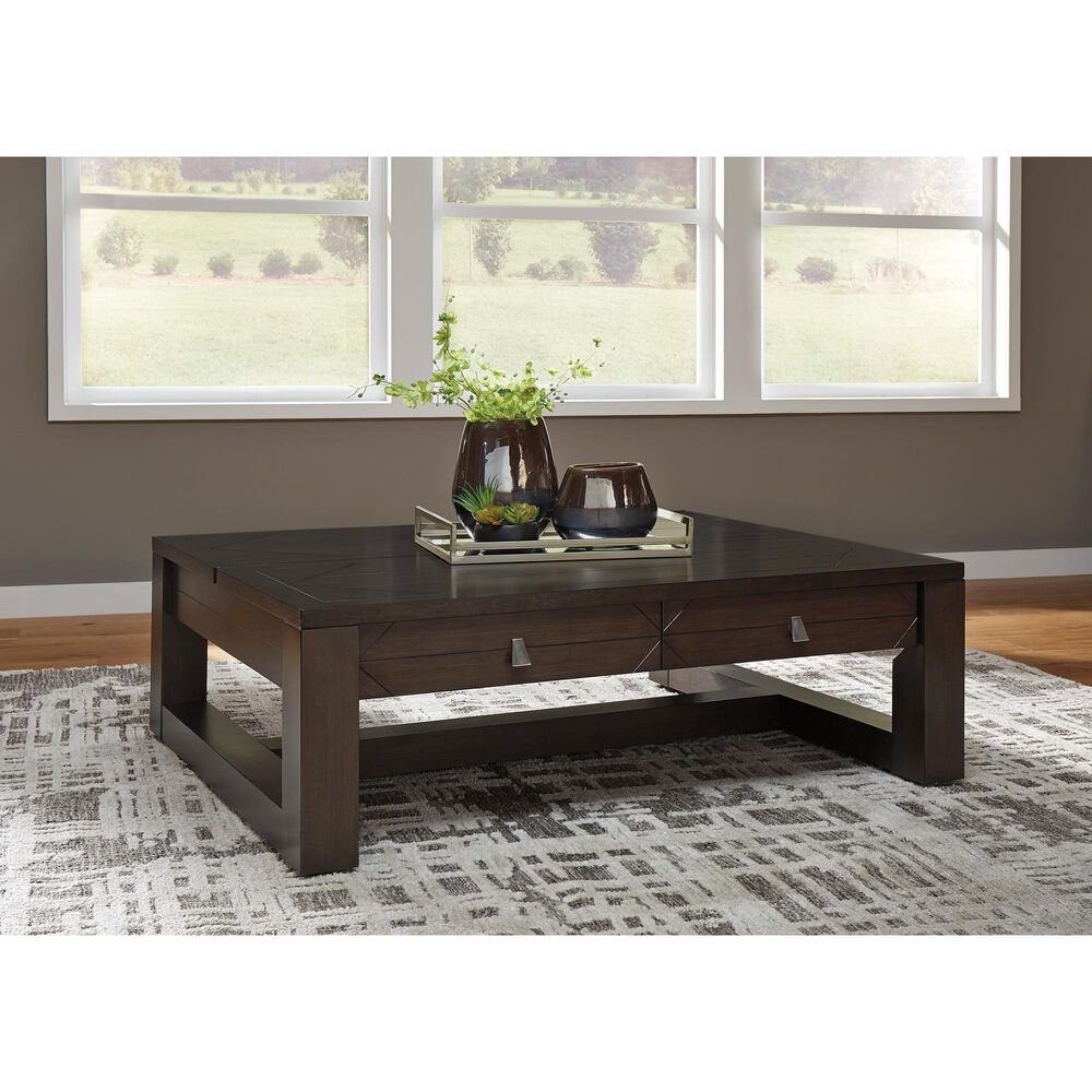 Signature Design by Ashley Tariland Lift Top Cocktail Table in Dark Grayish Brown, , large