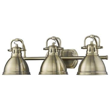 Golden Lighting Duncan 3-Light Bath Vanity in Aged Brass with Aged Brass Shades, , large