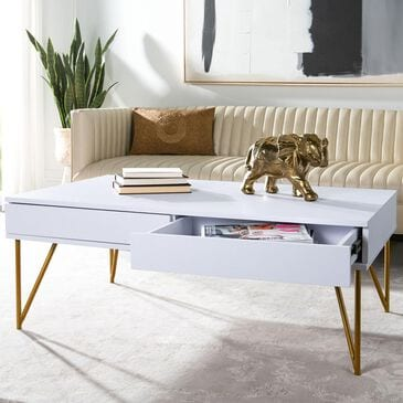 Safavieh Pine 2-Drawer Coffee Table in White and Gold, , large
