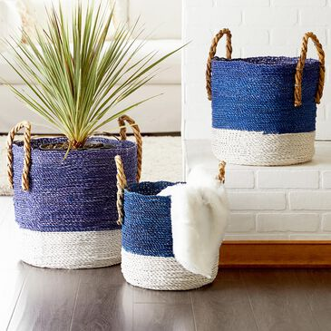Maple and Jade Seagrass Baskets in Blue (Set of 3), , large